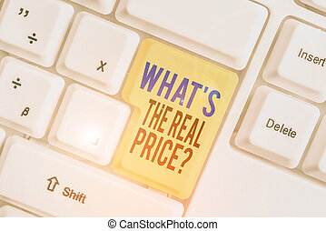 Word writing text What s is The Real Price question. Business concept for Give actual value of property or business.