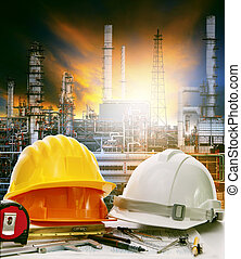 working table of engineer in oil refinery industry plant use for