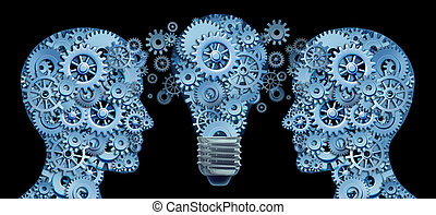 Working together as a team for innovative strategies and creating new ideas and products through lesdership and education represented by two human heads and a lightbulb in the shape of gears and cogs .