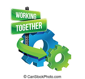 working together gears concept illustration design over a white background