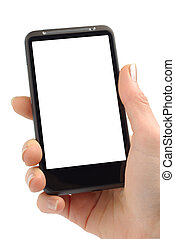 Female hand with modern smartphone isolated over white background with clipping path.