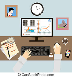 Workplace with Hands and Infographic in Flat Design Style vector