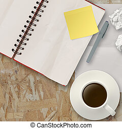 Workspace with coffee cup in composition as concept