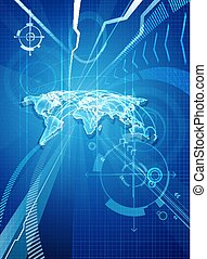 World Map Blue Business Background