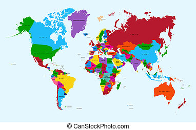 World map, colorful countries with text Atlas illustration. EPS10 vector file organized in layers for easy editing.