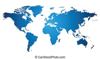 World map over white