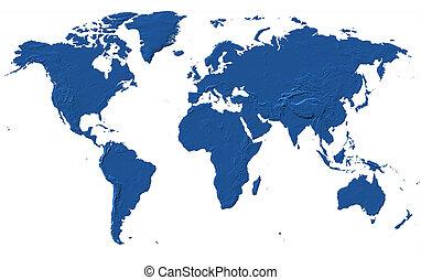 World Map - Africa, America, Asia, Europe & Oceania