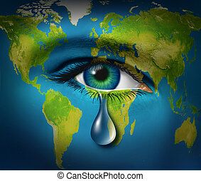 World poverty and natural disaster relief causing a refugee crisis from poor countries suffering from drought and war or regional conflicts resulting in famine as an earth map with a sad tear crying from an eye of a child,