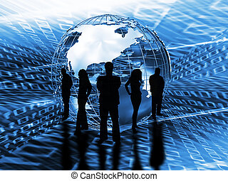 Silhouette of a business team in front of a globe