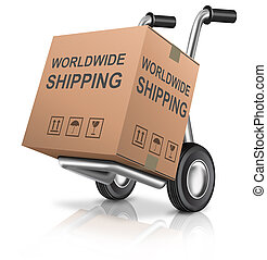 worldwide shipping or global delivery hand truck with cardboard box and text concept for package sending international trade
