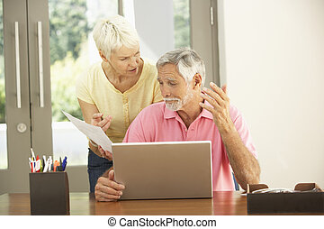 Worried Senior Couple Using Laptop At Home