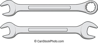 Illustration of one closed end wrench and one open end wrench.