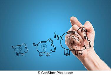 Write Piggy Money with your hand.