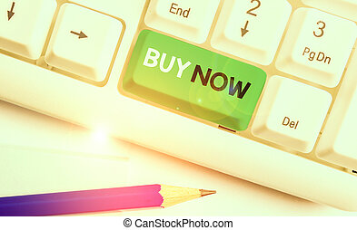 Writing note showing Buy Now. Business photo showcasing asking someone to purchase your product Provide good Discount.