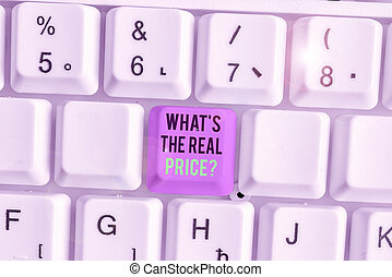 Writing note showing What s is The Real Price question. Business photo showcasing Give actual value of property or business.