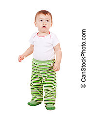 Year-old child standing over white background