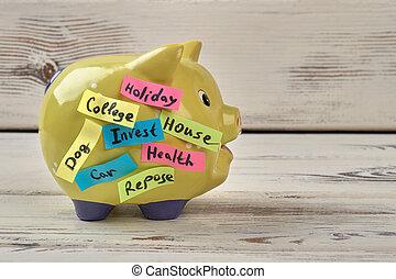 Yellow pig moneybox.