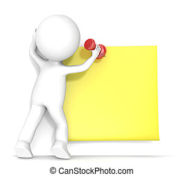 3D little human character attaching a Sticky Note with a Pushpin. People series.