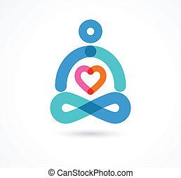 yoga icon, element and symbol