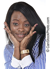 young beautiful black African American ethnicity woman posing happy looking at camera smiling
