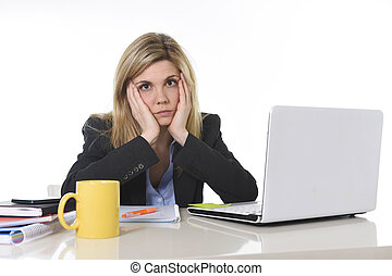 young beautiful business woman suffering stress working at office frustrated and sad