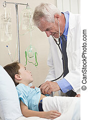 Young Boy Child Patient In Hospital Bed & Male Doctor
