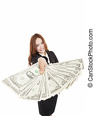 young business woman showing the money