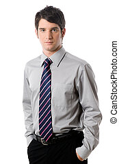 A young businessman in shirt and tie on white background
