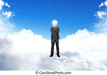 Young businessman with blub stand up on the clouds.