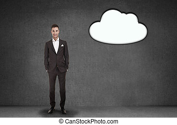 Young businessman with clouds