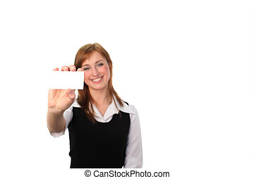 Woman holding Business Card