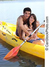 Young couple kayaking