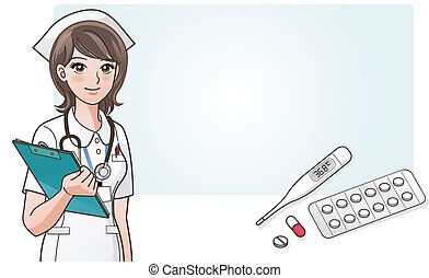 Young cute cartoon nurse smiles holding clip board and capsule, pill, sheet of pills, digital thermometer, on information panel background.