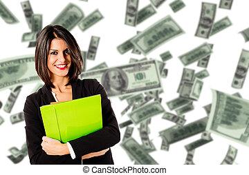 young executive woman earn money