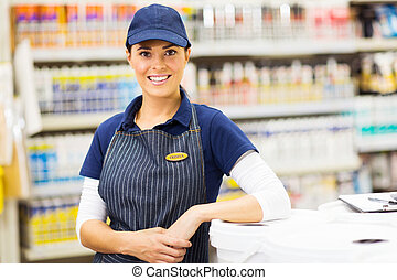 young female hardware store worker portrait