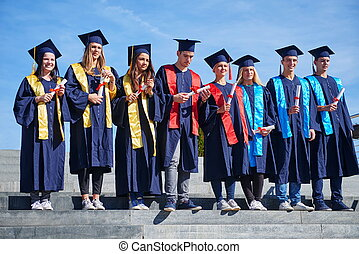 young graduates students group
