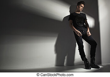 Young guy wearing trendy clothes