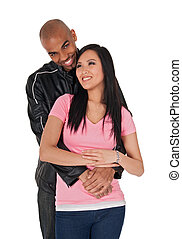 Young loving couple smiling