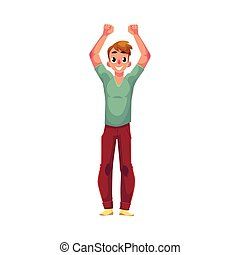 Young man, boy, guy, rejoicing, cheering, jumping in happiness, excitement