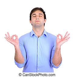 Young man in meditation zen mode
