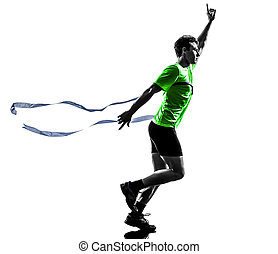 young man sprinter runner running winner finish line silhouette