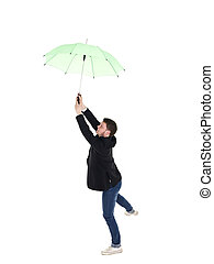 Young man with umbrella
