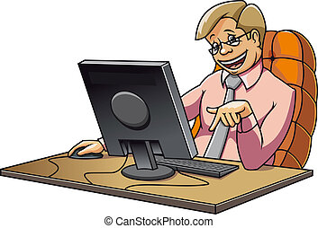 Young manager in office working on computer