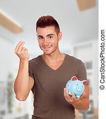 Young men with a blue moneybox