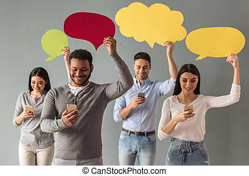 Young people with speech bubble