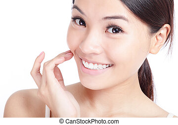 young smiling woman hand touch her mouth