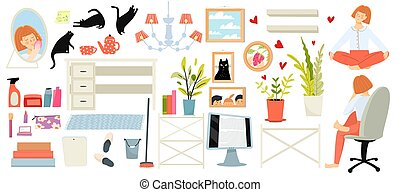 Young woman and furniture, girly home everyday life clipart objects collection on white background