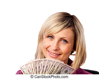 Young woman holding Dollars