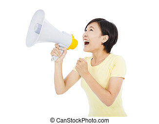 young woman holding megaphone over white background