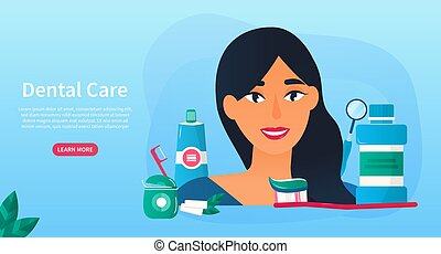 Young woman with Dental Care products